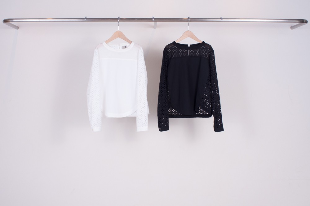 york switching lace blouse