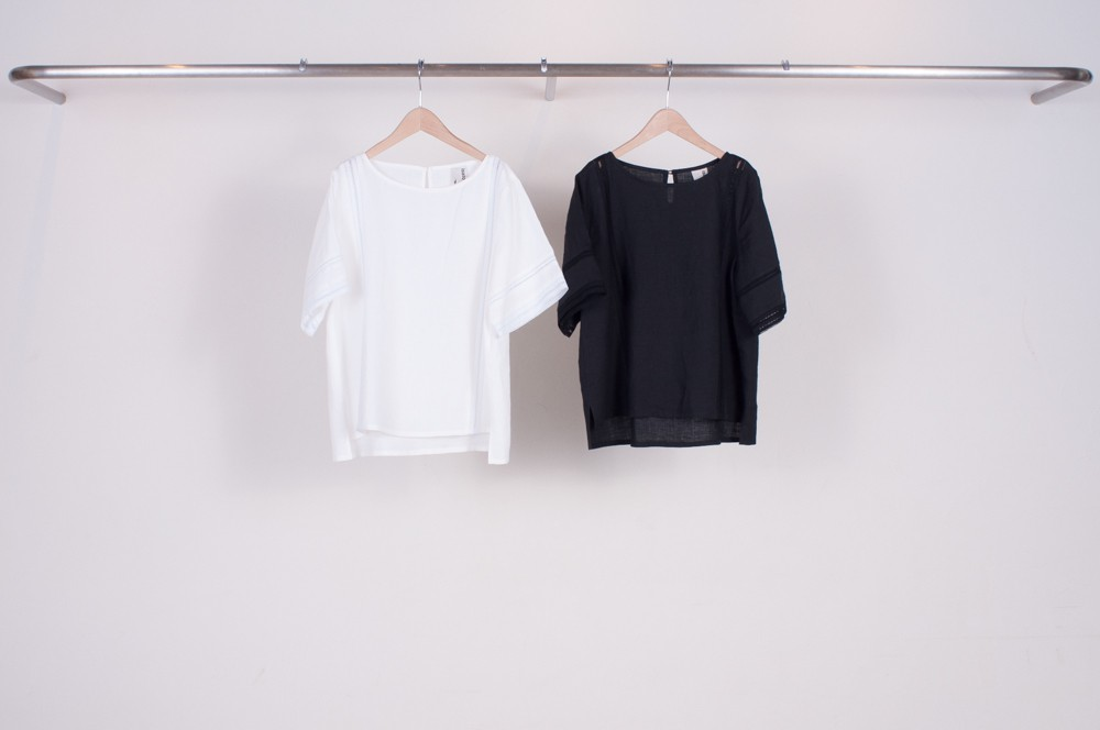 lace tape switching linen pullover blouse (plain)