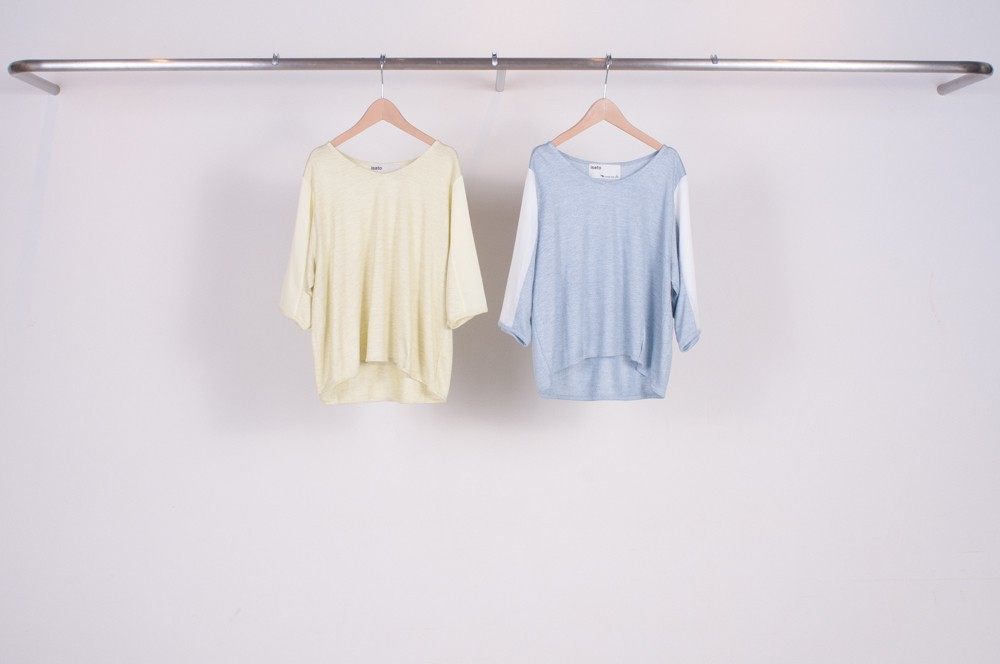 top sleeve switching v-neck cut & sewn