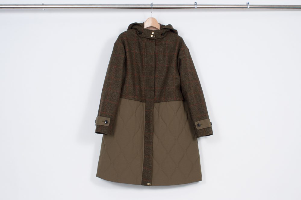 West switching quilted coat (check)