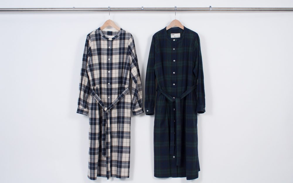 Band collar shirt dress (check)