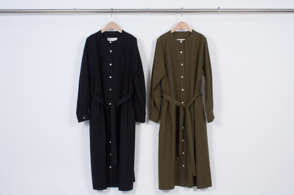 Band collar shirt dress (plain)